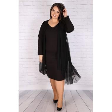 """Макси черна права рокля с тюлена наметка """"ПРЕСЛАВА""""   Онлайн магазин за модерна макси мода"""