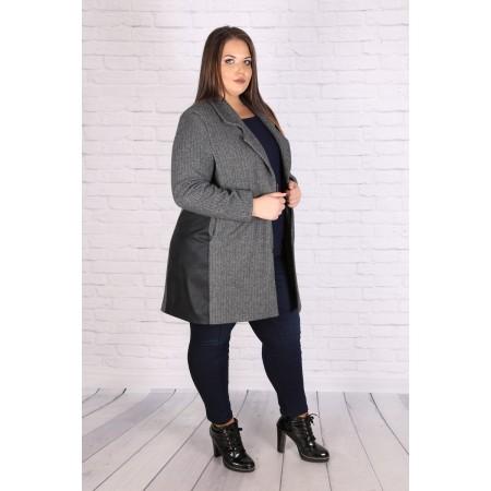 Макси манто от плетен текстил, екокожа и хастар | Онлайн магазин за модерна макси мода