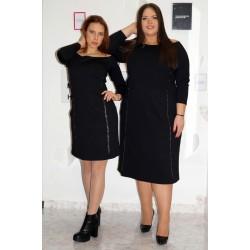 Елегантна черна рокля с метален кант