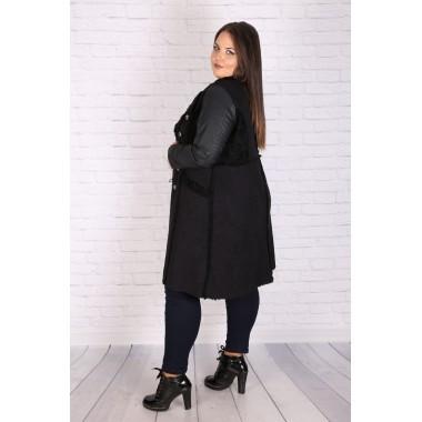Макси палто от екокожа с косъм 290 | Онлайн магазин за модерна макси мода