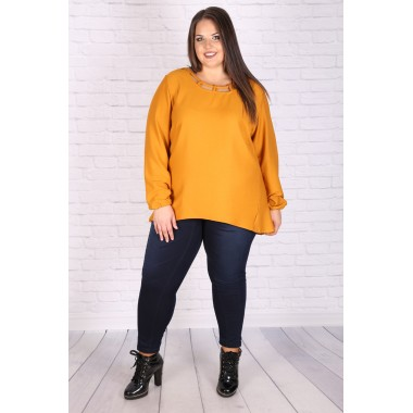 Макси елегантна риза-туника в горчица | SIRENA plus онлайн магазин