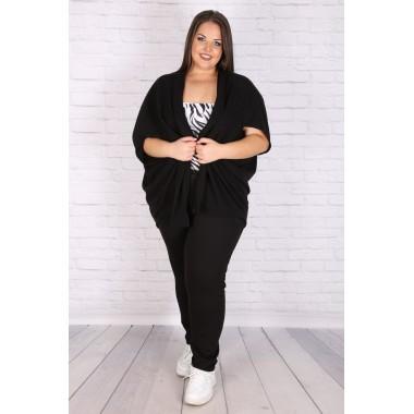 Макси асиметрична жилетка в черно | SIRENA plus онлайн магазин