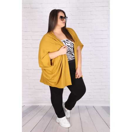 Макси асиметрична жилетка в горчица | SIRENA plus онлайн магазин