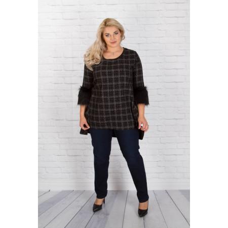 Туника-рокля с екокожа | SIRENA plus модерна макси мода