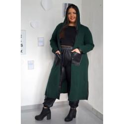Тъмно зелена дълга жилетка с екокожа и плетка