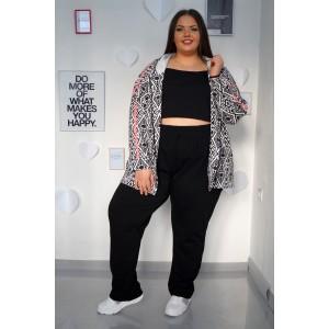 Комплект от черно-бяло спортно горнище и  панталон с прав крачол