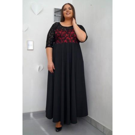 Официална дълга рокля с черна дантела МАЛИНА