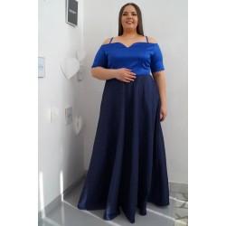 Официална дълга рокля с голи рамене в турско синьо АНЖЕЛА