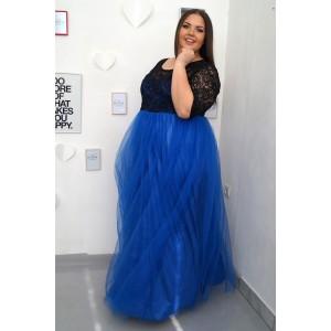 Официална дълга рокля със син тюл ФИЛИПА