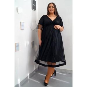 Къса официална черна рокля с лъскав колан МАРИНЕЛА