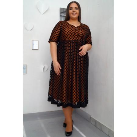 Елегантна рокля старо злато и точки КРИСТИНА