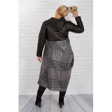 Палто от екокожа и вълна с хастар | SIRENA plus модерна макси мода